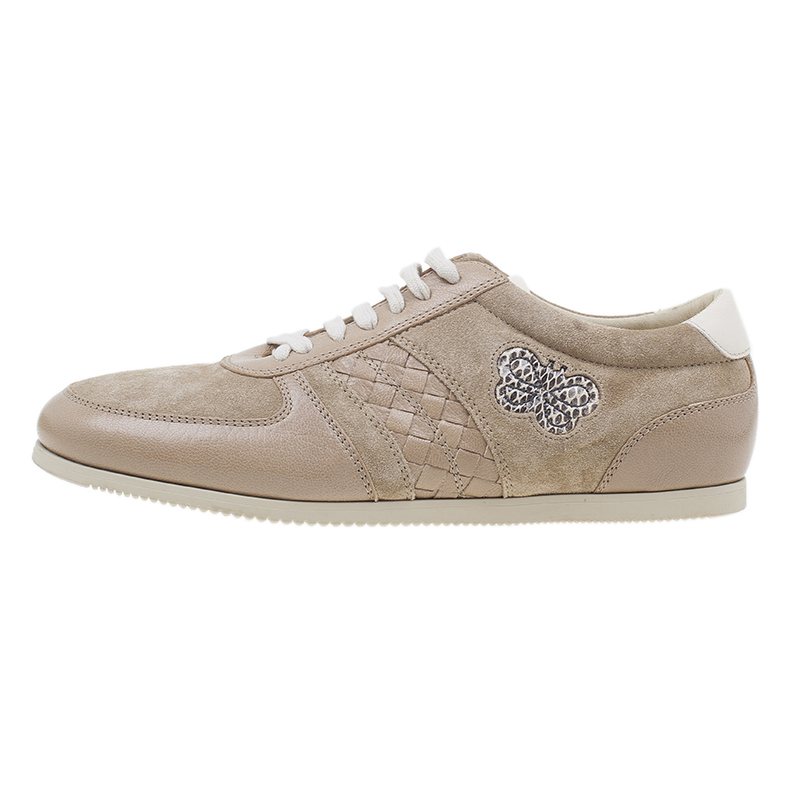 Bottega Veneta Beige Suede and Leather Butterfly Sneakers Size 39.5