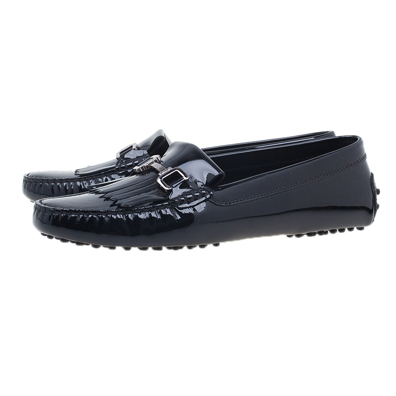 Tod's Black Patent Fringe Loafers Size 42