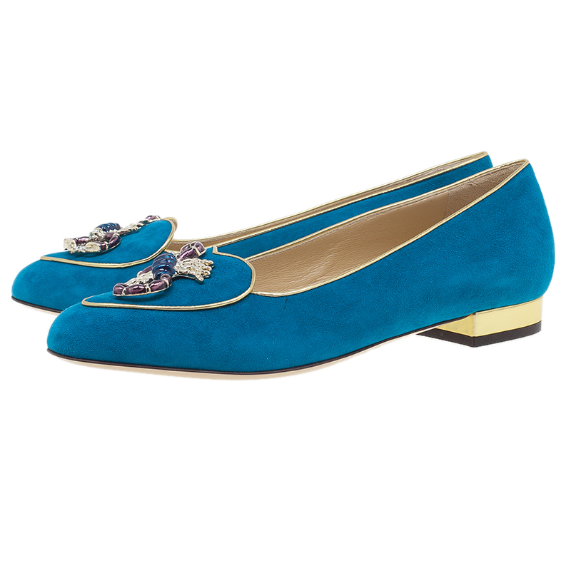 Charlotte Olympia Blue Suede Scorpio Smoking Slippers Size 38