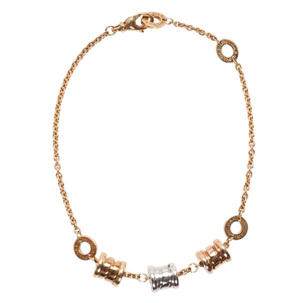 Bvlgari B.ZERO1 3-Elements 18K Yellow White and Pink Gold Soft Bracelet 19CM
