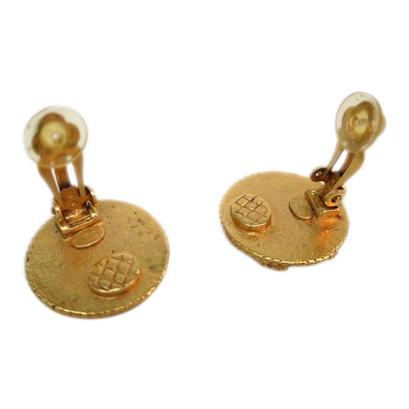 Chanel CC Vintage Round Gold Tone Clip Earrings