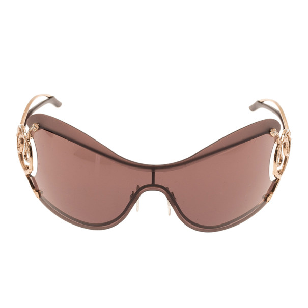 Roberto Cavalli Brown Cicno Serpent Shield Sunglasses
