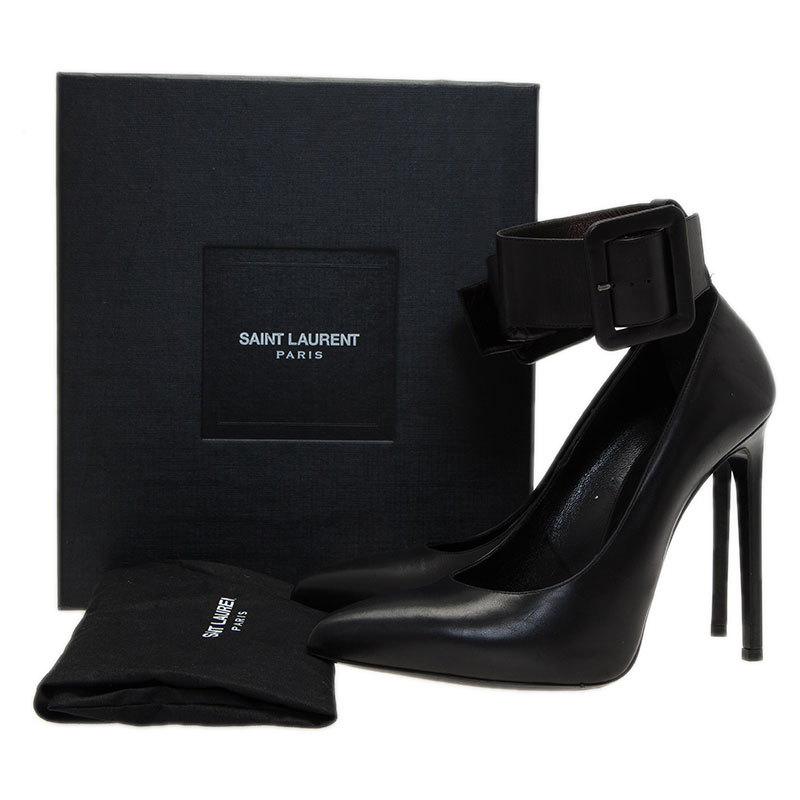 Saint Laurent Paris Black Leather Escarpin Ankle Strap Pumps Size 40