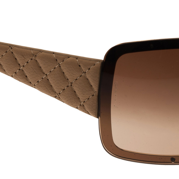 Chanel Cream Quilted Leather 4155-Q Shield Sunglasses
