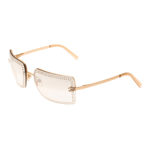 Chanel Gold 4105 Crystal Rimless Sunglasses