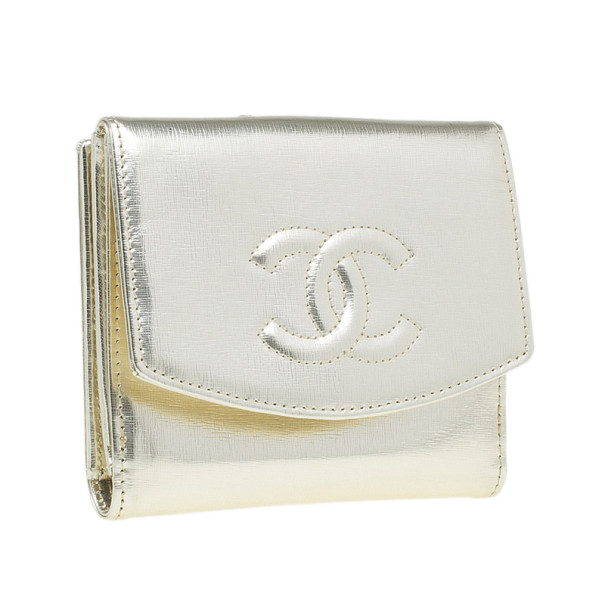 Chanel Gold Leather Compact Wallet
