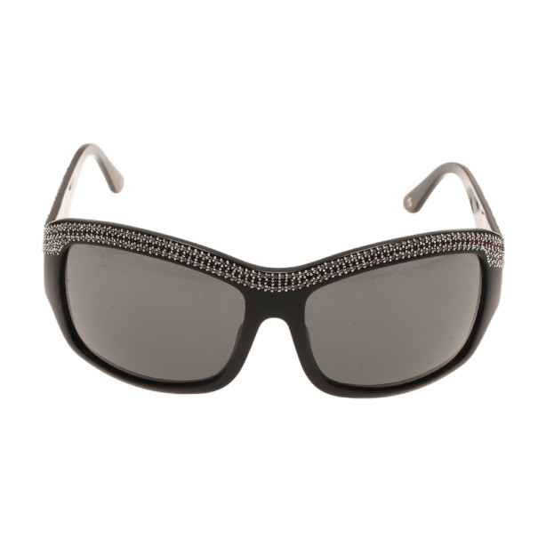 Chanel Black Crystal Rectangle Sunglasses