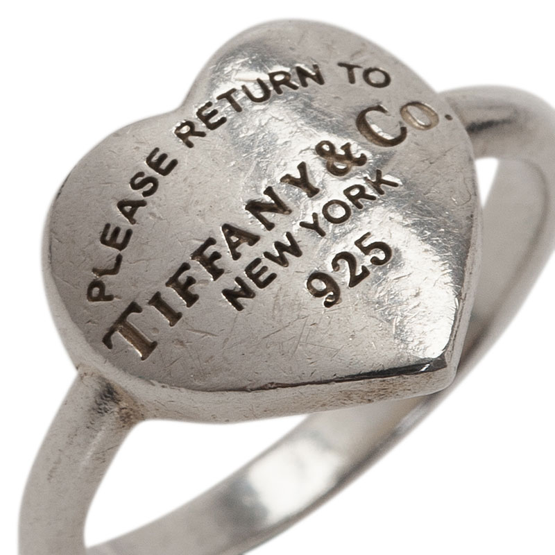 Tiffany & Co. Return To Tiffany Heart Signet Silver Ring Size 49