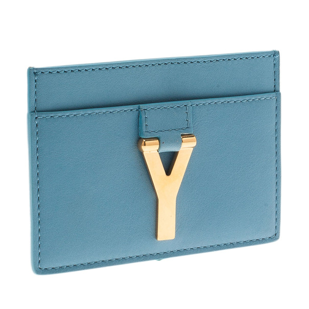 Saint Laurent Paris Blue Leather Y Card Holder