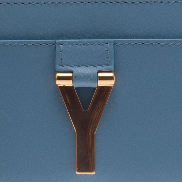 Saint Laurent Paris Blue Leather Y Card Holder