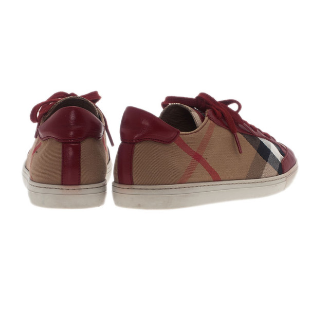Burberry Red Leather And Nova Check Canvas Sneakers Size 38