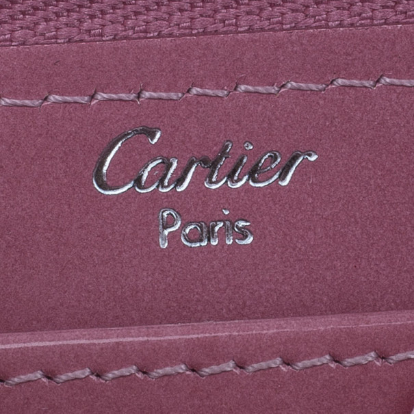 Cartier Pink Patent Leather Logo Continental Wallet