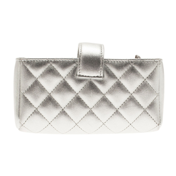 Chanel Silver Leather Quilted Smart Clutch