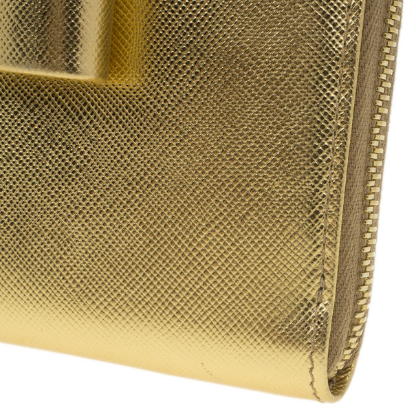 Prada Gold Saffiano Bow Zip-Around Wallet