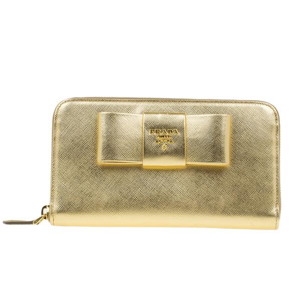 Prada Gold Saffiano Bow Zip-Around Wallet