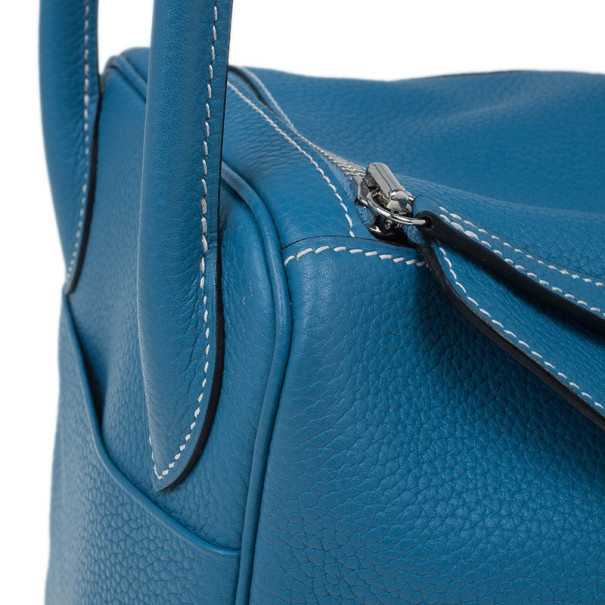 Hermes Blue Clemence Leather Lindy Bag 30