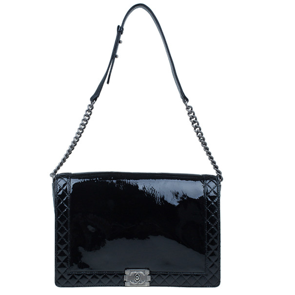 Chanel Black Patent Leather Boy Reverso Jumbo Flap Bag
