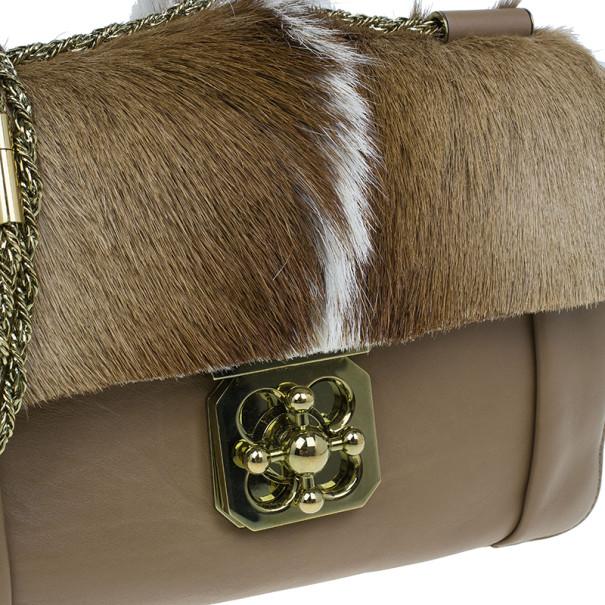 Chloe Beige Gazelle Fur Large Elsie Shoulder Bag