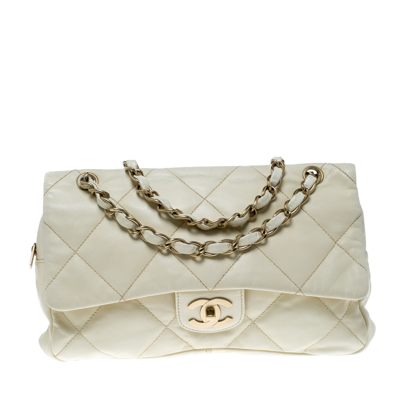 Chanel Cream Quilted Leather Flap Bag Nextprev Prevnext