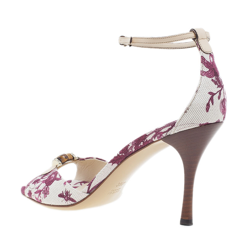 Gucci Pink Flora Canvas Bamboo Ankle Strap Sandals Size 41.5