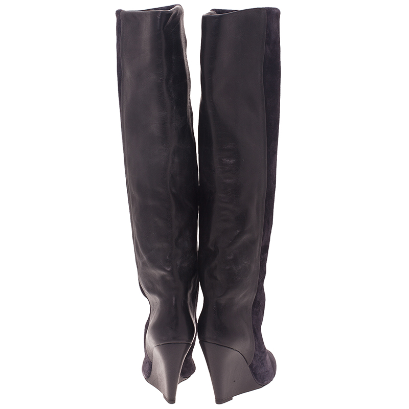 Isabel Marant Black Suede and Leather Prescott Wedge Knee Boots Size 38