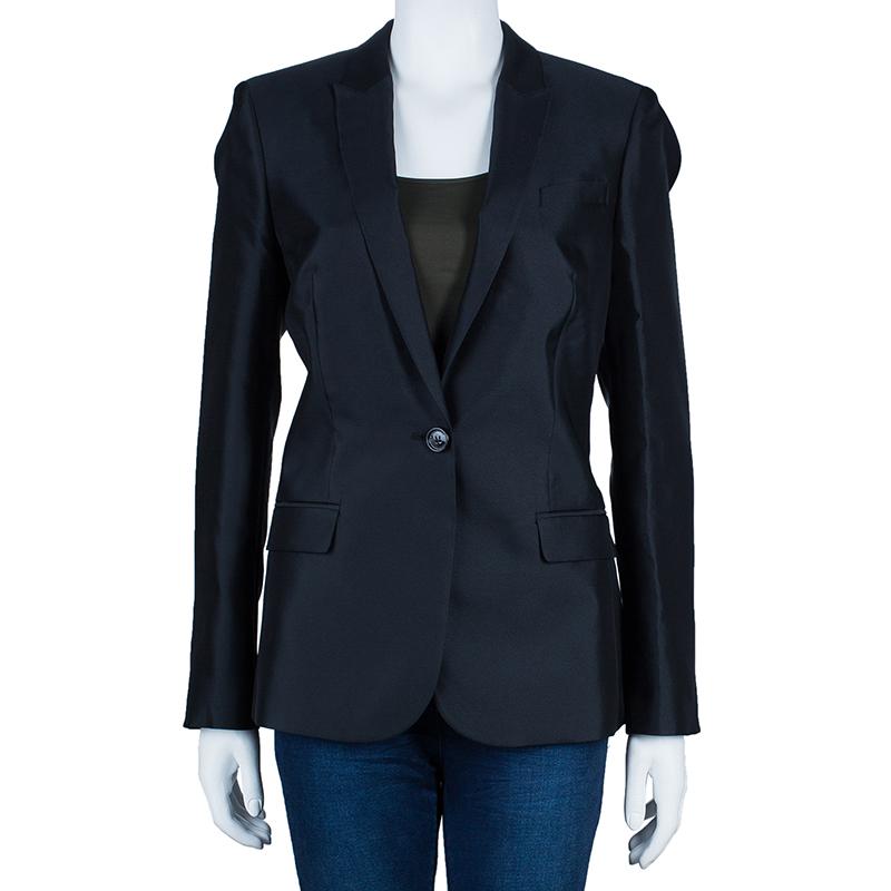 Burberry Black Silk Tailored Blazer M