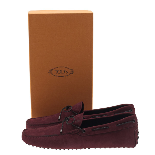 Tod's Purple Suede Bow Loafers Size 44