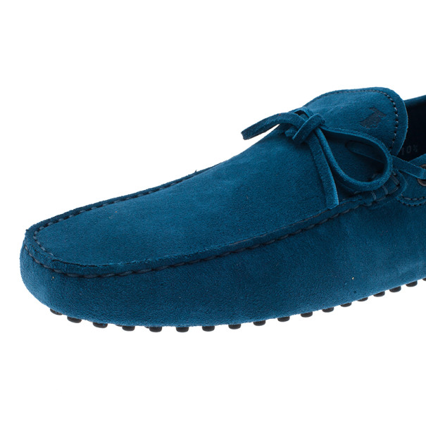 Tod's Blue Suede Bow Loafers Size 44.5