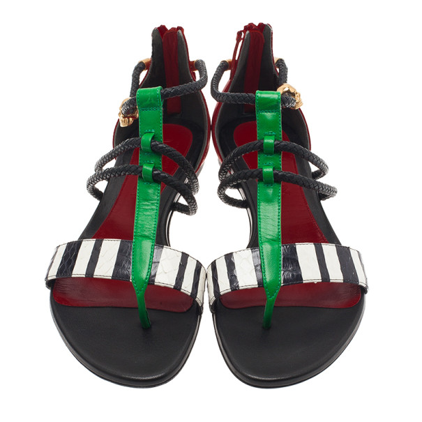 Alexander McQueen Multicolor Python Rope Flat Sandals Size 38.5