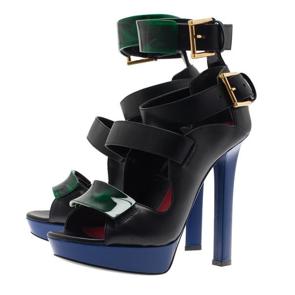 Alexander McQueen Black Plexi Plaque Strappy Sandals Size 37