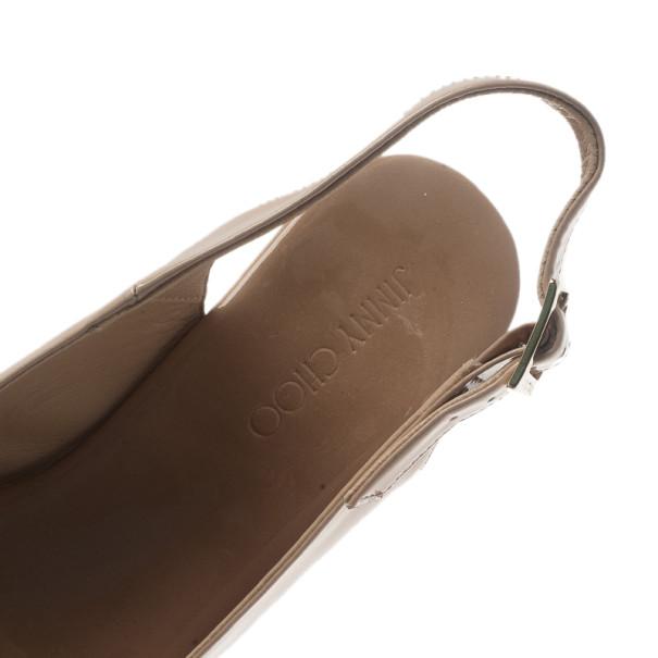 Jimmy Choo Nude Patent Praise Cork Slingback Wedges Size 35.5