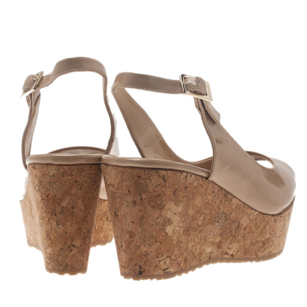 Jimmy Choo Nude Patent Praise Cork Slingback Wedges Size 35.5