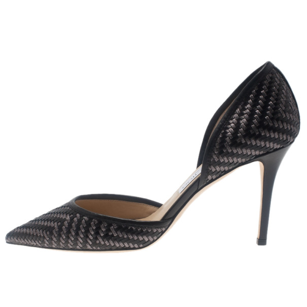 Jimmy Choo Black Woven Addison D'orsay Pumps Size 38
