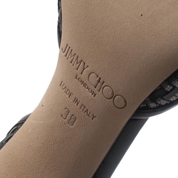 Jimmy Choo Black Woven Addison D'orsay Pumps Size 38