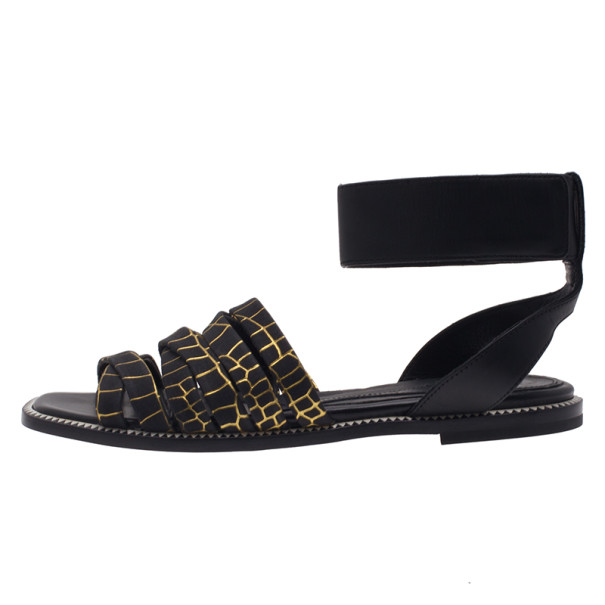 McQ by Alexander McQueen Croc Print Ankle Strap Erin Flat Sandals Size 36