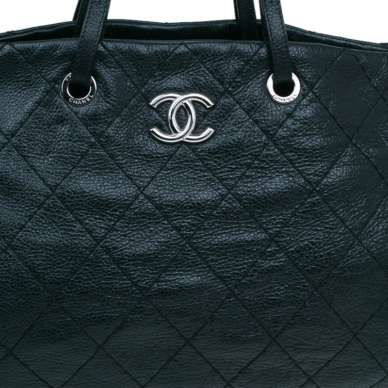 Chanel Black Quilted Glazed Leather Large On the Road Tote Bag