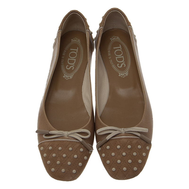 Tod's Beige Quilted Suede and Leather Dew Ballet Flats Size 36