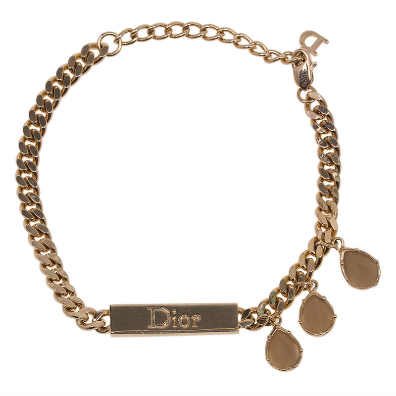 Dior ID Crystal Gold Tone Chain Bracelet