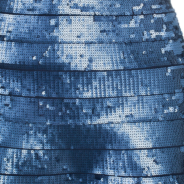 Herve Leger Eclipse Sequin Strapless Flare Dress XS