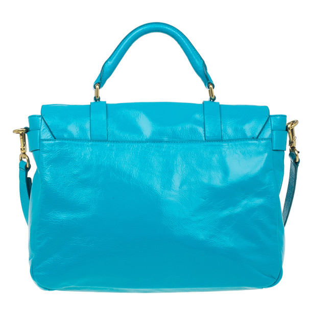 Marc by Marc Jacobs Turquoise Glazed Leather Small Werdie Satchel