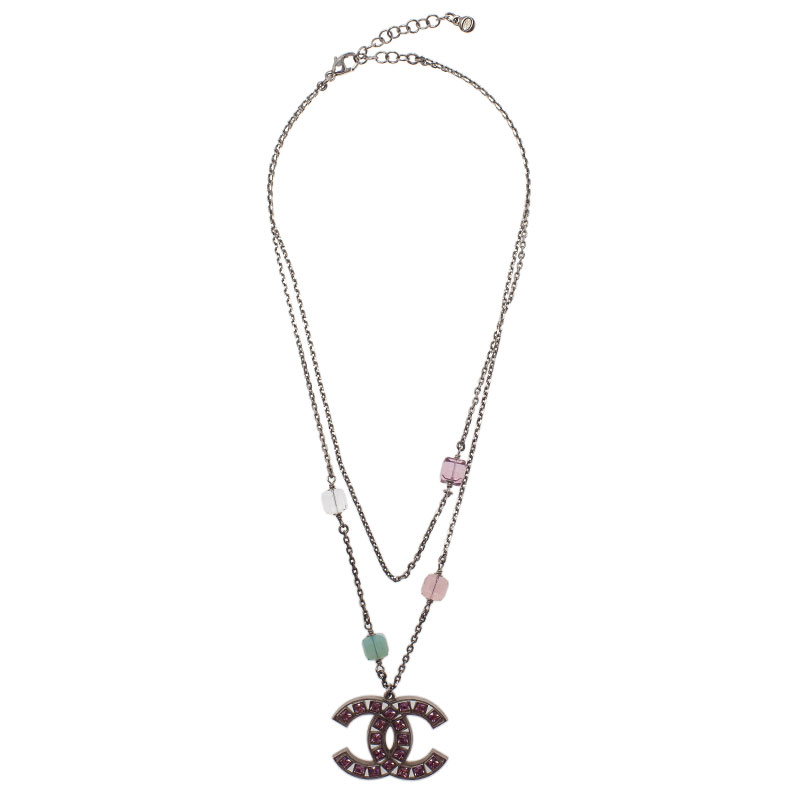Chanel CC Pink Crystal Double Strand Pendant Necklace