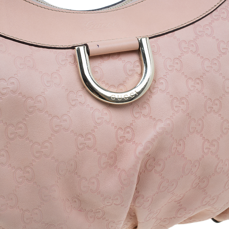 Gucci Pink Guccissima Leather D Ring Large Hobo Bag