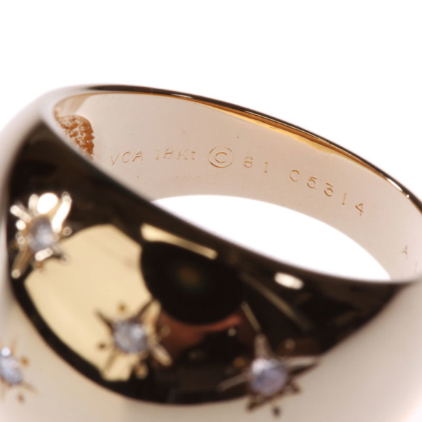 Van Cleef & Arpels Diamond 18K Yellow Gold Dome Ring Size 52