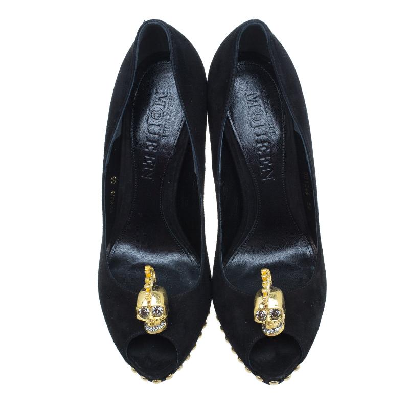 Alexander McQueen Black Suede Skull Embellished Peep Toe Pumps Size 38