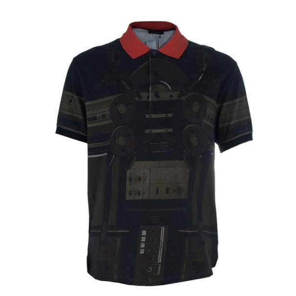 Givenchy Circuit Print Short Sleeve Men's Polo Shirt M