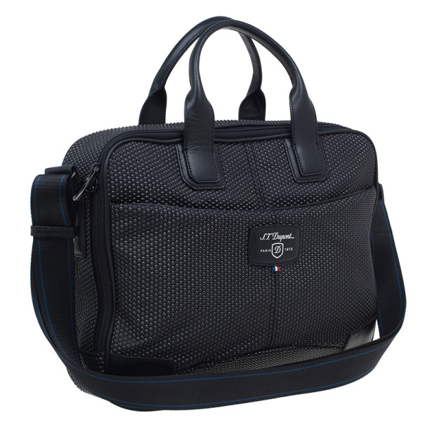 S.T. Dupont Black Leather Laptop Bag