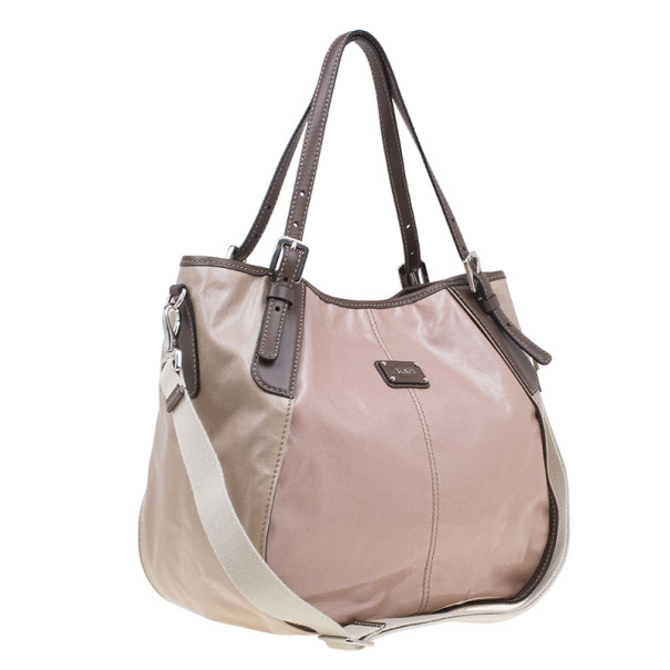 Tod's Beige Coated Canvas Gline Tote