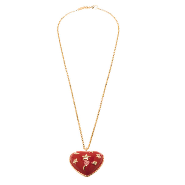 Moschino Moon and Stars Heart Red Pendant Necklace