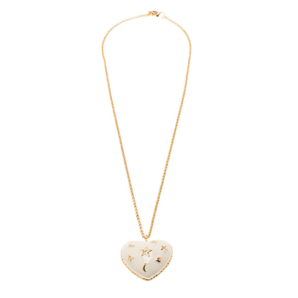 Moschino Moon and Stars Heart White Pendant Necklace