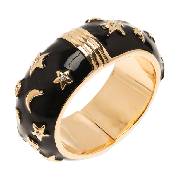 Moschino Moon and Stars Wide Black Bangle 17CM